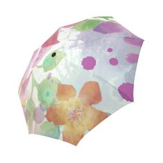 Watercolor Splash Red Green Floral Pattern Auto-Foldable Umbrella