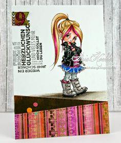 """Geburtstagskarte Mädchen, birthday Card Girls Image from Mo Manning: """"Little Punk"""""""