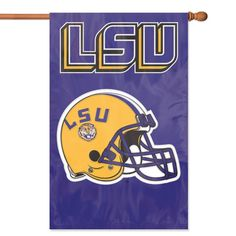 """NCAA LSU Tigers Applique Banner Flag - Oversized 44"""" x 28"""" true 2-sided house banner flag made of heavyweight weather-resistant 420 denier nylon. High quality applique & embroidery makes this flag fly high above the competition. Comes with sleeve for hanging on standard house flagpole and also has hang tabs for added versatility. Item Dimensions: 28L x 0.5W x 44H Package Dimensions: 12L x 7W x 1H Color: purple. Gifts > Licensed Gifts > Ncaa > All Colleges > Louisiana State University. Weight"""