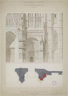 Louis Charles Sauvageot | Cathédrale de Rouen. Restauration de la façade occidentale. | Images d'Art
