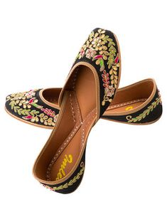 a1d2fdc5f9788d Black Gota Embroidered Silk and Leather Juttis