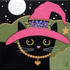GOOD Witch Black CAT with Pink HAT Original by WildSunflowerStudio