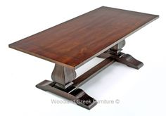 Genial Distressed Alder Trestle Dining Table By Woodland Creek Furniture.  Available Custom Sizes To Fit Your