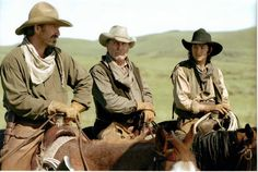 """A still of Kevin Costner, Robert Duvall, and Diego Luna from 2003's """"Open Range""""."""
