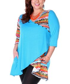 Look what I found on #zulily! Turquoise & Orange Color Block Surplice Tunic - Plus #zulilyfinds