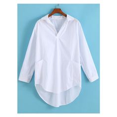 Lapel Dip Hem With Pocket Blouse (£8.45) ❤ liked on Polyvore