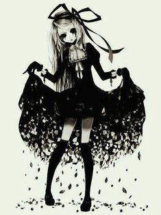 Dark anime art · ((open rp i'm her))welcome! Anime Chibi, Manga Anime, Art Anime, Anime Kawaii, Manga Art, Manga Drawing, Emo Art, Goth Art, Arte Horror
