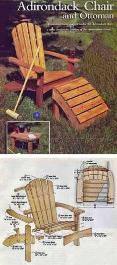 Adirondack Chair and Ottoman Plans - Outdoor Furniture Plans & Projects | WoodArchivist.com