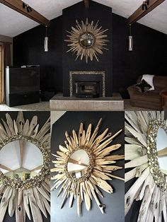 Driftwood mirror with and stone - starburst mirror - 60 inches