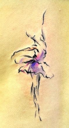 Graceful watercolor impressionistic dancer tattoo.