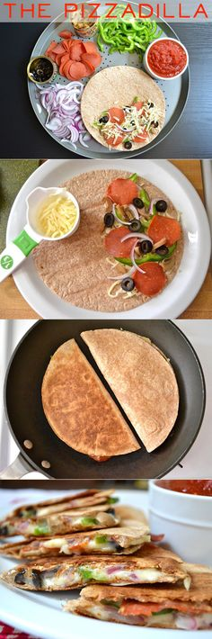 pizzadillas. healthy pizza. I've made this for my boy a few times now. He loves it. I actually make it in the microwave, but I love that you can add whatever you have on hand. Perfect for a quick snack or the ultimate lazy dinner. Do this with Eziekel Wraps!!