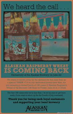Alaskan Raspberry Wheat Coming Back 6/23