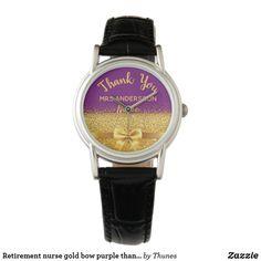 Retirement nurse gold bow purple thank you watch