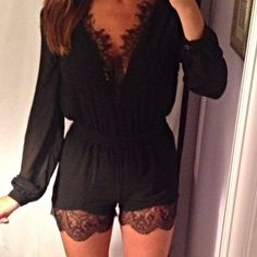 lace trimmed long sleeved black romper