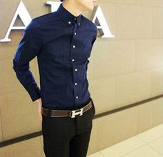 Long Sleeve Gold Button Design Navy Shirt | Sprence