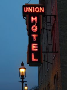 Lighting up the winter night is the iconic Union Hotel sign in downtown De Pere, Wisconsin