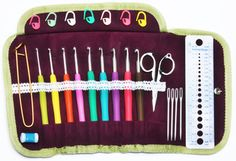 Crochet Hooks Knitting Kit - Soft Handled in a Gorgeous Lace Accent Button Up Organizer Plus 5 Accessory Items