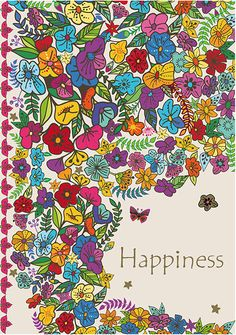 """Cahier blanc """"Flowers"""" Happiness"""