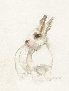 White rabbit, animal bunny art, watercolor bunny print, watercolor painting print art. by Ainic