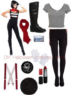 """DIY- Halloween costume: Mime"" by vans-and-beanies ❤ liked on Polyvore"
