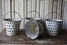#23/059 4 French Metal Colander Buckets