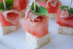 watermelon and prosciutto appetizer for my guests this summer