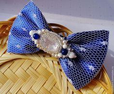 """Купить Галстук бабочка """"Фантазия в Синем"""" - темно-синий, галстук бабочка, галстук бабочка вышивка"""