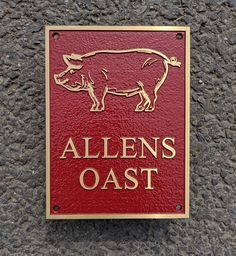 """Cast bronze does make superb houe signs. It may be expensive but a bronze sign will last a lifetime. The size of this one was 6"""" x 8"""", The font Times New Roman and the background colour red. Ref """"007.ANG.014"""