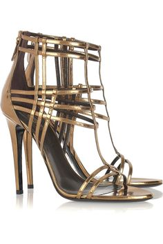 Just a touch of dominatrix. Roberto Cavalli patent leather cage sandals.