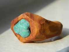 Large Gold Polymer Clay Statement Ring with Embedded Turquoise ,Chunky Polymer Clay Ring, Turquoise Ring, Chunky Jewelry by UpperHandRings on Etsy