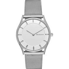 SKAGEN SKW2342 Holst stainless steel watch (£155) ❤ liked on Polyvore featuring jewelry, watches, white, stainless steel watches, skagen jewelry, white strap watches, logo watches and stainless steel wrist watch