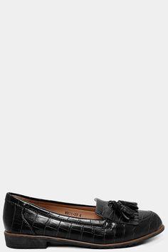 Black Mock Croc Tassel Front Loafers – SinglePrice