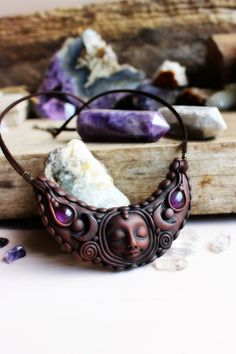 Crescent Moon Goddess Necklace with Amethyst Gemstone. Handcrafted Clay by TRaewyn Jewelry.