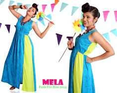 Maxi Mela- A long sleeveless printed summer-time maxi that can even be worn back to front when the mood strikes you.The soft cool modal fabric gives a lovely fall to the garment and a side slit allows room for movement. The pop of lime green makes the dress fresh and fun. #maxi #dress #summer #blue