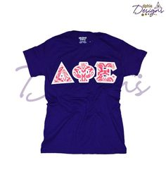 NEW STYLE! DPhiE Designs Spring Purple Crew Tee w/Pink Ikat Sewn-On