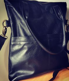 Classic genuine soft leather shoulder bag. Folds by TanaandHide