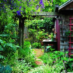 This garden is full of open areas and intimate nooks, like the shed that serves as a studio in the far corner.