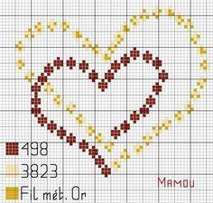 Double hearts x-stitch Wedding Cross Stitch, Cross Stitch Heart, Cross Stitch Cards, Cross Stitch Flowers, Cross Stitching, Cross Stitch Embroidery, Embroidery Patterns, Hand Embroidery, Cross Stitch Designs