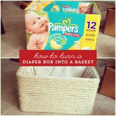 Here is information on how to reuse a diaper box to create a beautiful basket! We love this easy craft that upcycles a diaper box into a basket.