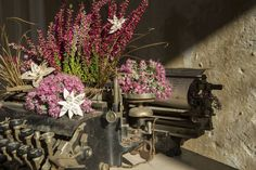 Bouquet of the Week: A Vintage Typewriter Bouquet - Garden Collage Magazine Collage, Vintage Typewriters, Special Events, Flower Arrangements, Floral Design, Concept, Garden, Bouquets, Flowers