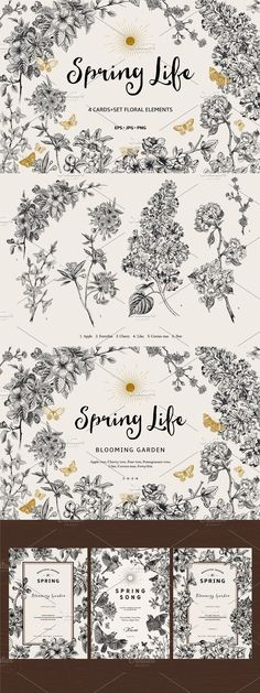 Butterfly Design, As You Like, Bloom, Photoshop, Black And White, Spring, Illustration, Floral, Cards