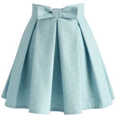 Chicwish Sweet Your Heart Jacquard Skirt in Baby Blue (380 SEK) ❤ liked on Polyvore featuring skirts, bottoms, blue, knee length pleated skirt, jacquard skirts, heart skirt, baby blue skirt and blue skirt
