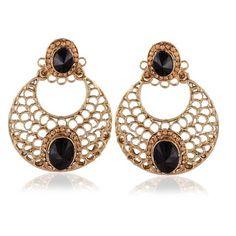 Gold & Black Stone Earings Jewlery ,Indian Dresses