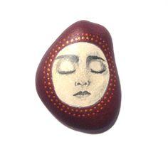 Plum meditation face stone/paperweight by Ludibund on Etsy, $16.00