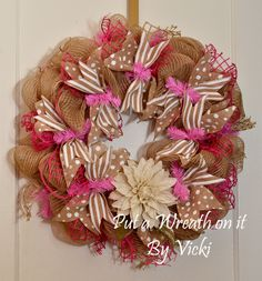 Burlap and pink spring wreath.