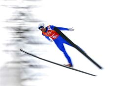 Lukas Klapfer of Austria competes in the Nordic Combined Men's Team LH. Sochi 2014 Day 14 - Nordic Combined Team Gundersen LH  4x5 km. © 2014 XXII Winter Olympic Games.