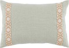 #10 Seafoam Linen w/ Tan on Off White Camden Tape Lumbar Pillow