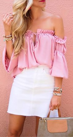 #Summer #Outfits / Pink Off The Shoulder Blouse