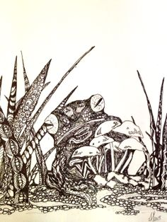 Zentangle ...Frog with toad stools