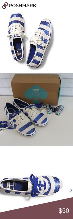 Kate Spade Keds Striped Sequined Size 6M Super cute sequin striped Kate Spade Keds Sneakers. Includes both white and blue shoe laces for versatile styles. Size 6M. NWT in brand new condition. kate spade Shoes Sneakers